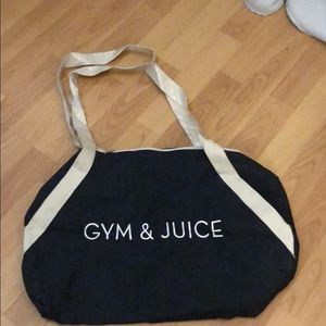 "NWT Private Party ""Gym and Juice"" denim gym bag"